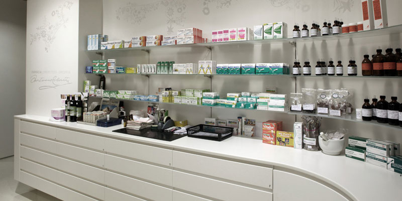 Pharmacy Furnishings 3: back counter with shelves Faar-FabbroArredi