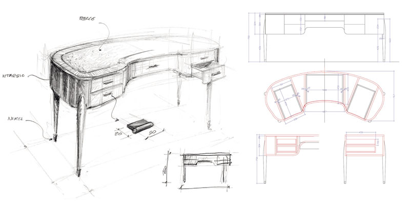 "Curved writing desk ""Geneva"" Faar-FabbroArredi 4: drawing"