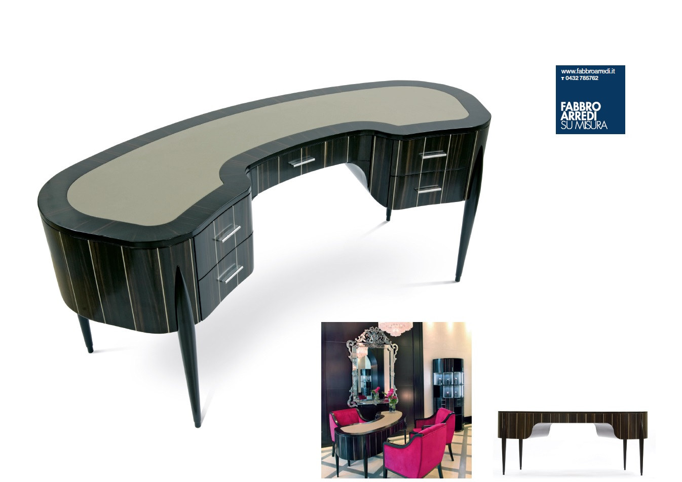 "Curved writing desk ""Geneva"" Faar-FabbroArredi 5: set up"